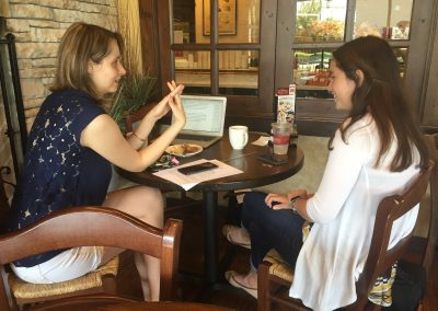 Mentor Shanyn Ronis meeting with 2015 winner Cat Meadows strategizing on Education Dream Hub